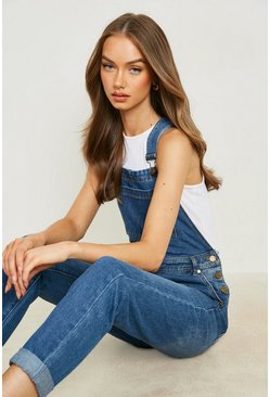 Mid blue Boyfriend Denim Overalls