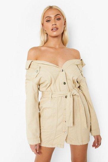 Ecru white Off The Shoulder Denim Shirt Dress