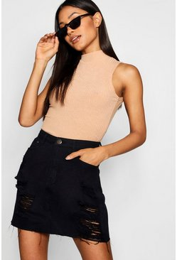 Western Distressed Denim Skirt, Black nero