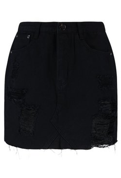 Black Western Distressed Denim Skirt