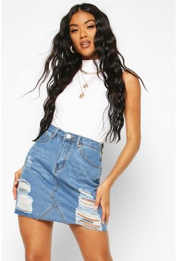 Mid blue blue Western Distressed Denim Skirt
