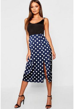 Navy Satin Polka Dot Split Midi Skirt