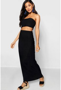 Black Basic Jersey Maxi Skirt