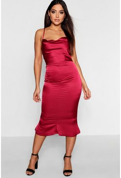 Berry red Satin Cowl Neck Lace Up Fish Tail Midi Dress