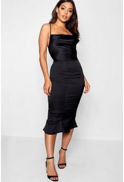 Black Satin Cowl Neck Lace Up Fish Tail Midi Dress