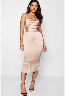 Champagne beige Satin Cowl Neck Lace Up Fish Tail Midi Dress