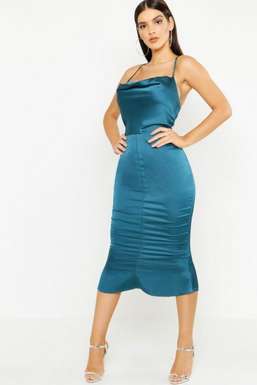 Emerald green Satin Cowl Neck Lace Up Fish Tail Midi Dress