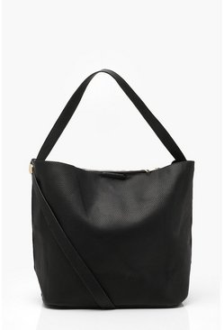 Black Bucket Day Bag With Cross Body Strap