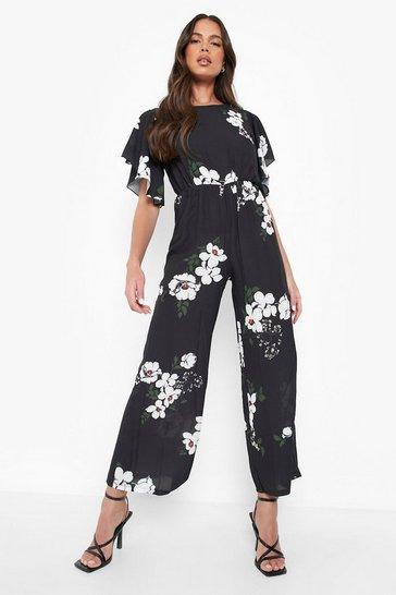 Black Floral Angel Sleeve Jumpsuit