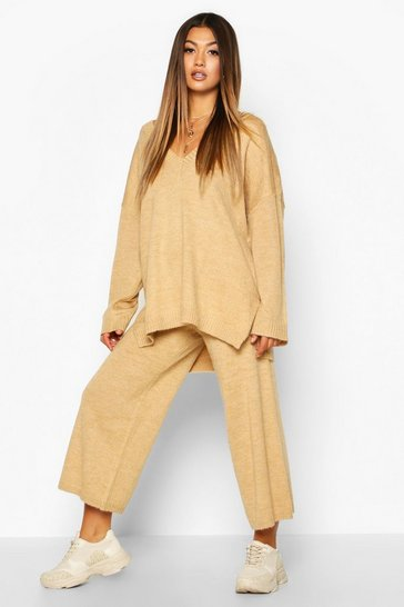Camel beige Oversized Slouchy Knitted Deep V Neck Co-ord Set