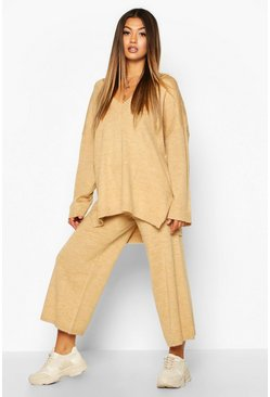 Camel beige Oversized Slouchy Knitted Deep V Neck Two-Piece Set