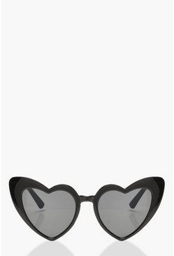 Black Oversized Heart Cat Eye Sunglasses