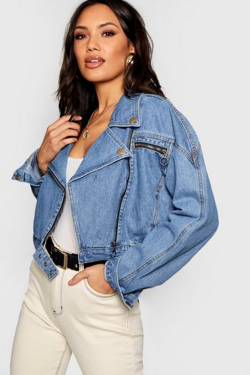 Mid blue blue Crop Biker Zip Denim Jacket