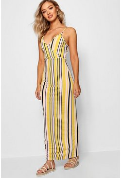Mustard Stripe Print Wrap Front Maxi Dress