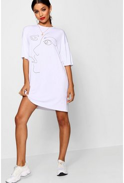 White Scribble Face Oversized T Shirt Dress