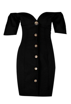 Black Sweetheart Mock Horn Button Front Mini Dress