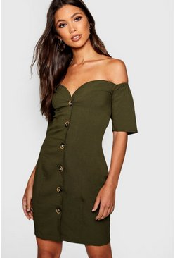 Khaki Sweetheart Mock Horn Button Front Mini Dress
