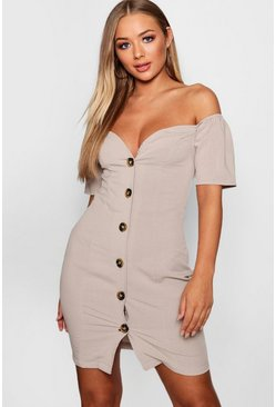Taupe beige Sweetheart Mock Horn Button Front Mini Dress