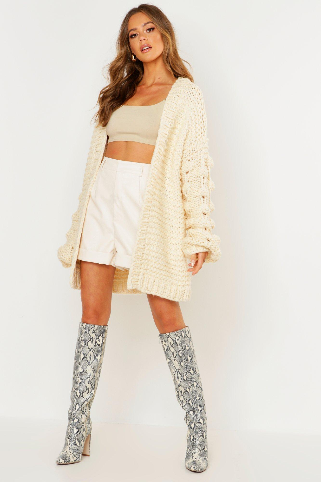 Premium Hand Knitted Chunky Cable Cardigan | Boohoo UK