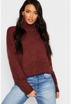 Chocolate brown Oversized Roll Neck Jumper
