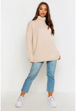 Stone beige Oversized Roll Neck Jumper
