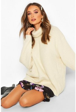 Cream white Oversized Roll Neck Rib Knit Sweater