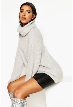 Silver Oversized Roll Neck Rib Knit Jumper