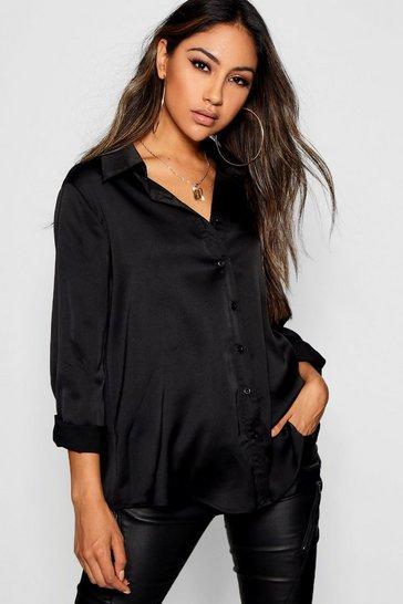 Black Woven Satin Oversized Long Sleeve Shirt