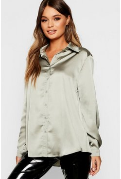 Sage Woven Satin Oversized Long Sleeve Shirt