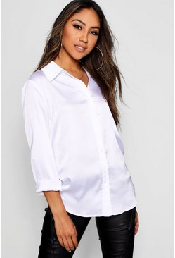 White Woven Satin Oversized Long Sleeve Shirt