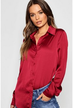 Wine red Woven Satin Oversized Long Sleeve Shirt