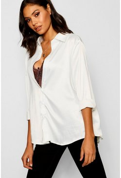 Ivoor white Oversized satijnen shirt