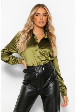 Khaki Satin Oversized Shirt