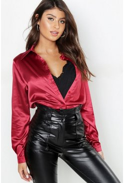 Wine red Satin Oversized Shirt