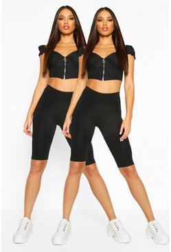 Black 2 Pack Basic Cycling Shorts