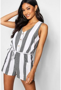 Black Horn Button Down Pocket Wide Stripe Playsuit