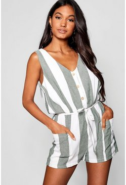 Forest green Horn Button Down Pocket Wide Stripe Playsuit