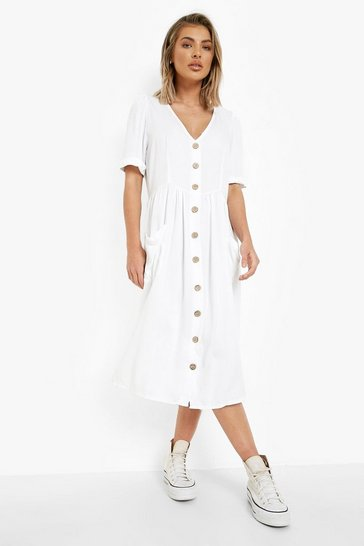 Cream white Button Front Pocket Detail Midi Dress