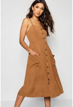 Tobacco brown Button Front Pocket Detail Midi Dress