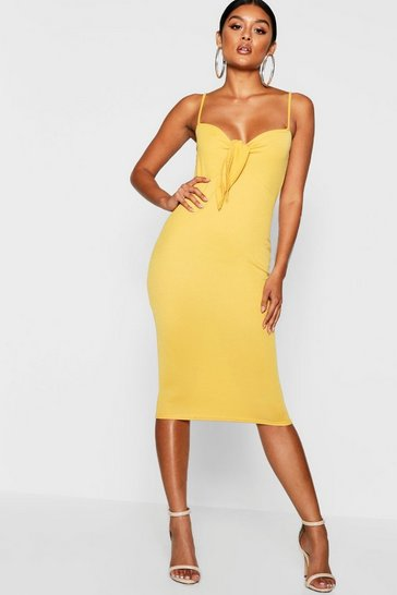 Mustard yellow Skinny Strap Tie Front Midi Dress