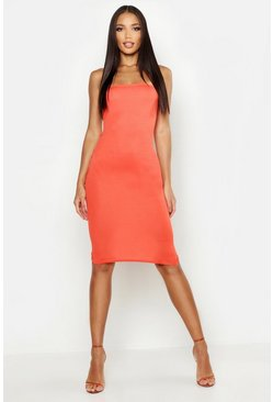 Orange Strapless Midi Jurk