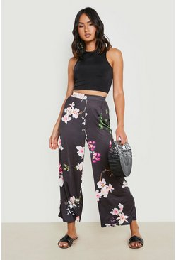 Black High Waist Oriental Wide Leg Culotte