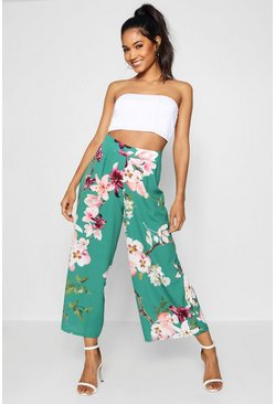 Emerald green High Waist Wide Leg Culotte