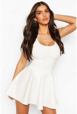 Ivory Basic Micro Fit And Flare Skater Skirt