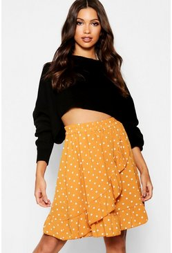Mustard yellow Woven Polka Dot Ruffle Mini Skirt