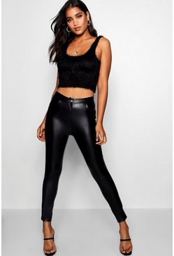 Black Zeta High Waist Leather Look Legging