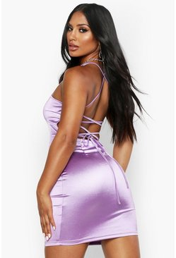 Lilac purple Satin Square Neck Strappy Back Bodycon Dress