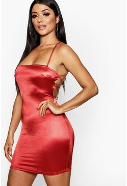 Satin Square Neck Strappy Back Bodycon Dress, Red rosso