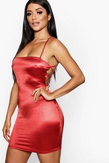 Red Satin Square Neck Strappy Back Bodycon Dress