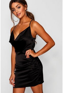 Black Florence Satin Cowl Neck Bodycon Dress